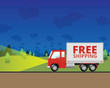 Free Shipping Truck Driving at Night - 78911856