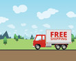 Free Shipping Truck Delivering Mail - 78911865