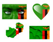 Set of various Zambia flags