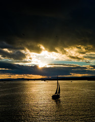 Sailing in the sunset, Oslofjord
