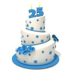 Birthday cake with number twenty five