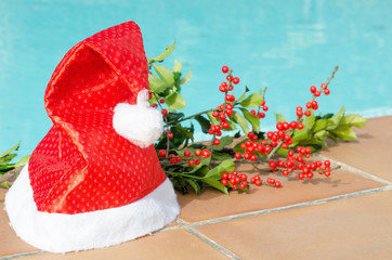 Christmas decorations in the pool
