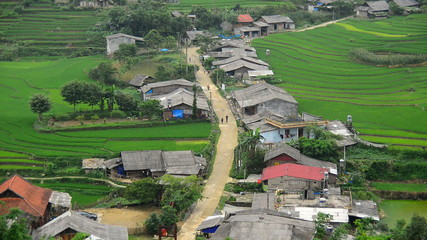 Time Lapse Zoom - Scenic Hmong Rice Village - Northern Mountains Sapa Vietnam