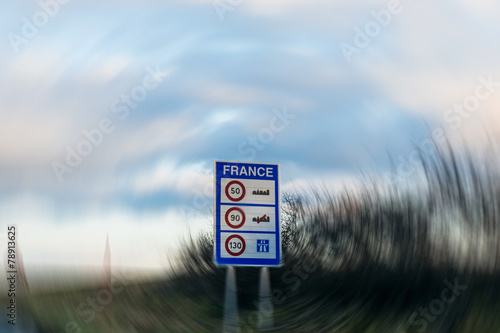 Poster Speed limitations in France- entrance sign