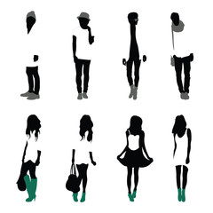 Black silhouettes of men and women