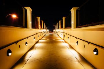 Walkway at night, in Huntington Beach, California.