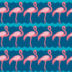 Elegance seamless pattern with pink flamingo