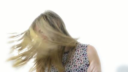 a teenage girl dance in slow motion