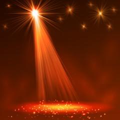 Spotlight on stage with smoke  light.