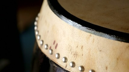 taiko drum head detail shift focus