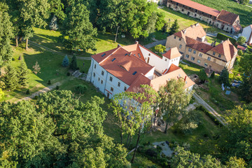 aerial view of  palace in village  Piotrowice Nyskie