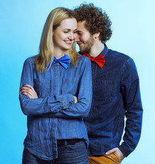 Portrait of gorgeous blond fashion man and woman in jeans shirt