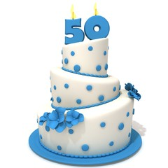 Birthday cake with number fifty