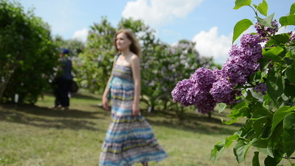 blooming lilac tree branch move in wind and blurred tourist