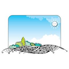 Vector spring landscape banner