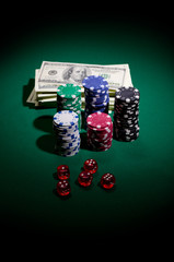 Gambling chips dollars and dices