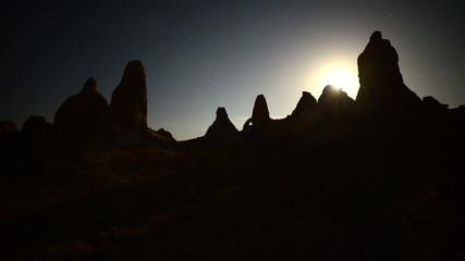 Time Lapse of Moon Rise at Tronas Pinnacles California Desert