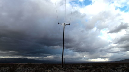 Time Lapse of Telephone Pole the Mojave Desert Storm Clouds