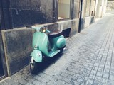 old, mint vintage motor scooter in Palma de Mallorca