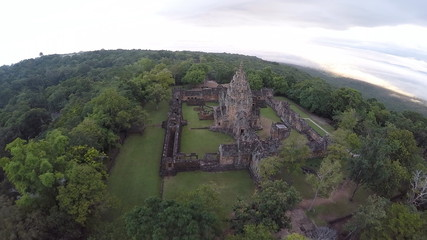 Aerial shot of Phanomrung castle Historical Park in Thailand