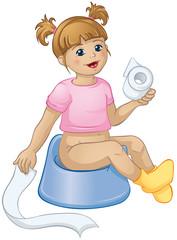 kleines Mädchen wird sauber