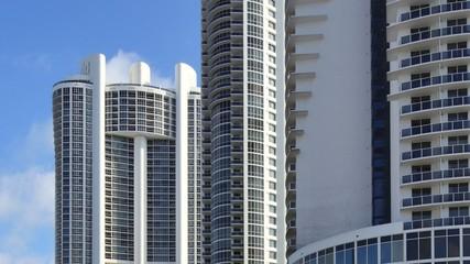 Buildings at Sunny Isles Beach on the beach 4k video