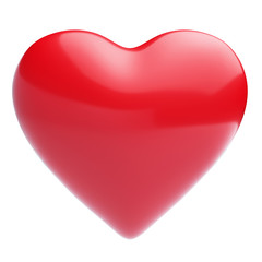 Isolated heart on shiny white background. High resolution 3D