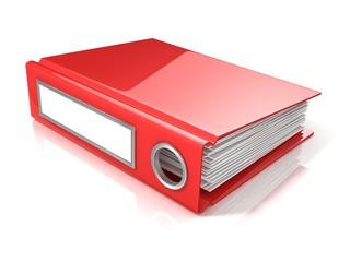 Red office folder. 3D render illustration isolated on white