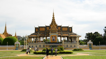 Zoom Out of the Kings Palace with Visiting Tourists  - Phnom Penh Cambodia