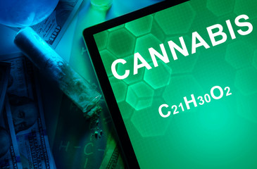 Tablet with the chemical formula of Cannabis.