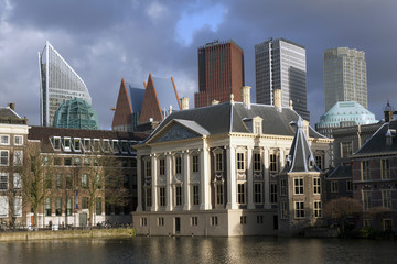 Old and new architectuur in the hague Holland