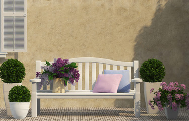 White bench and lilac flowers