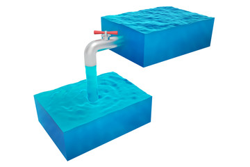 two isolated cube of water with a tap on a white background