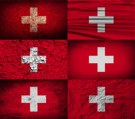 Set of 6 flags of Switzerland with old texture. Vector
