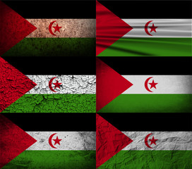 Set of 6 flags of Western Sahara with old texture. Vector