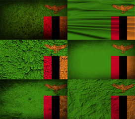 Set of 6 flags of Zambia with old texture. Vector