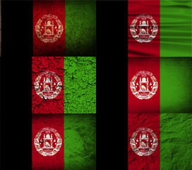 Set of 6 flags of Afghanistan with old texture. Vector