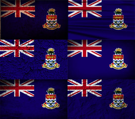 Set of 6 flags of Cayman Islands with old texture. Vector
