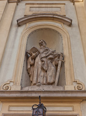 Statue of St Paul of Holy Cross Church in Warsaw, Poland