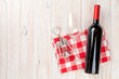 canvas print picture - Red wine bottle, glass and corkscrew
