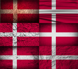 Set of 6 flags of Denmark with old texture. Vector