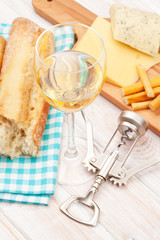White wine, cheese and bread
