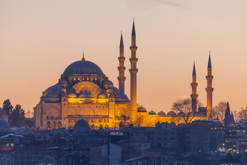 Suleymaniye mosque in the evening, Istanbul