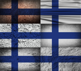Set of 6 flags of Finland with old texture. Vector