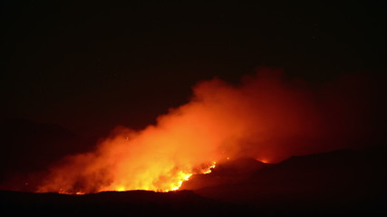 Time Lapse of Large Forest Fire at Night