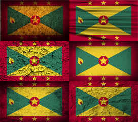 Set of 6 flags of Grenada with old texture. Vector
