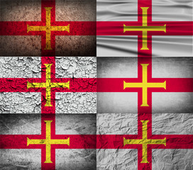 Set of 6 flags of Guernsey with old texture. Vector