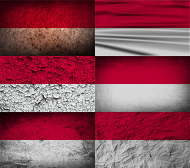 Set of 6 flags of Indonesia with old texture. Vector