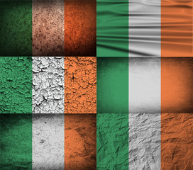 Set of 6 flags of Ireland with old texture. Vector