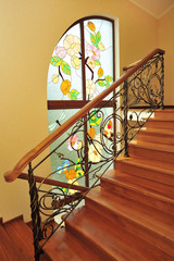 Beautiful stained glass painting on window